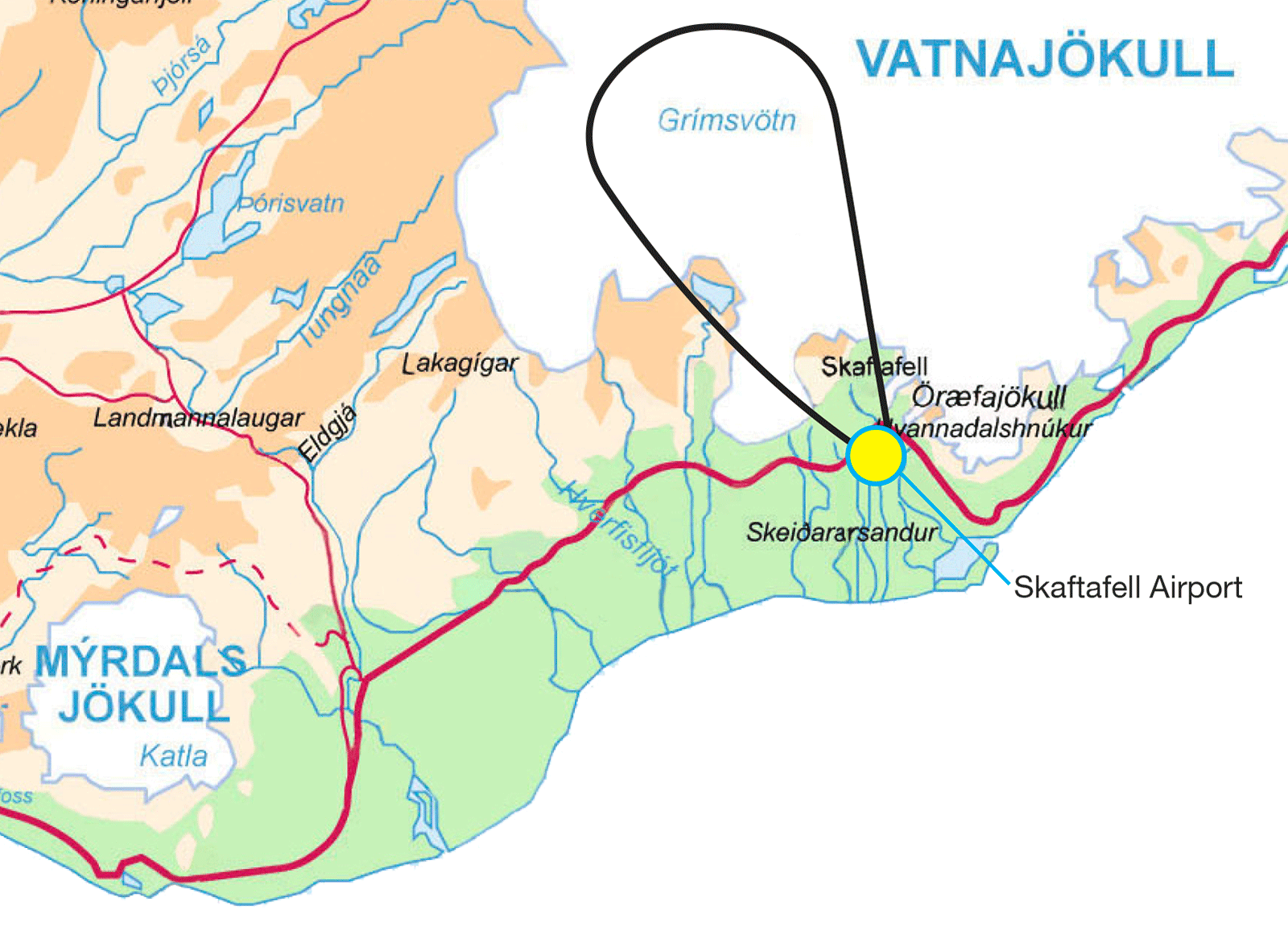 Grimsvotn Eruption Site Tour route